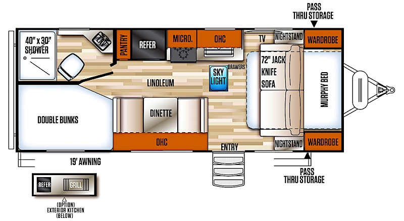 Forest River Vibe 21BH murphy bed floor plan