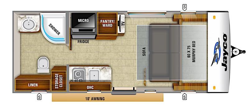 Jayco Hummingbird 16MRB Murphy Bed floor plan