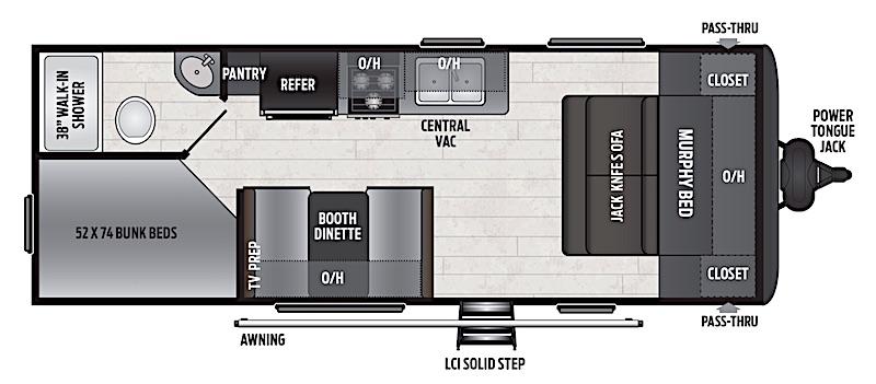 Keystone Hideout 212LHS murphy bed floor plan