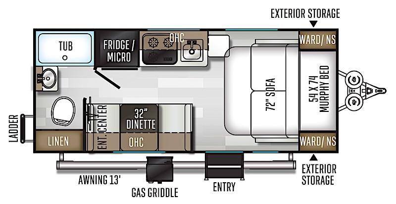 Rockwood Geo Pro G19FD floor plan with murphy bed