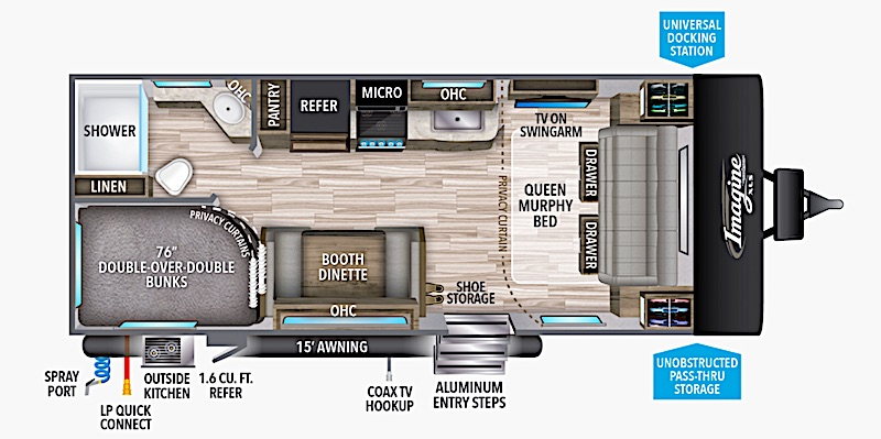 Travel Trailer with Murphy Bed Grand Design Imagine XLS 21BHE floor plan