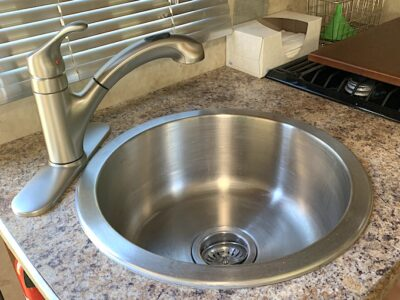 Kitchen sink faucet in RVBogger RV