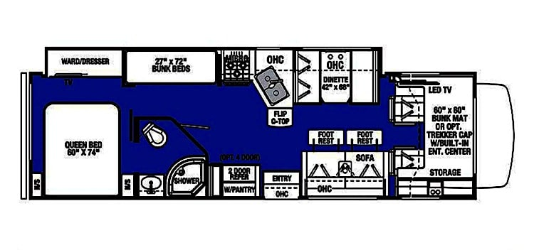 Class C RV Rental Floor Plan El Paso