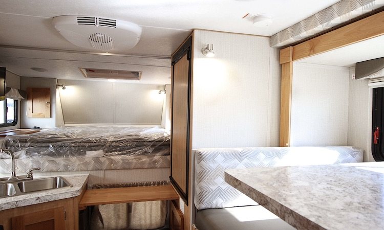Rugged mountain truck camper interior