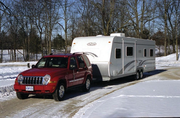Towing a travel trailer in snow and ice