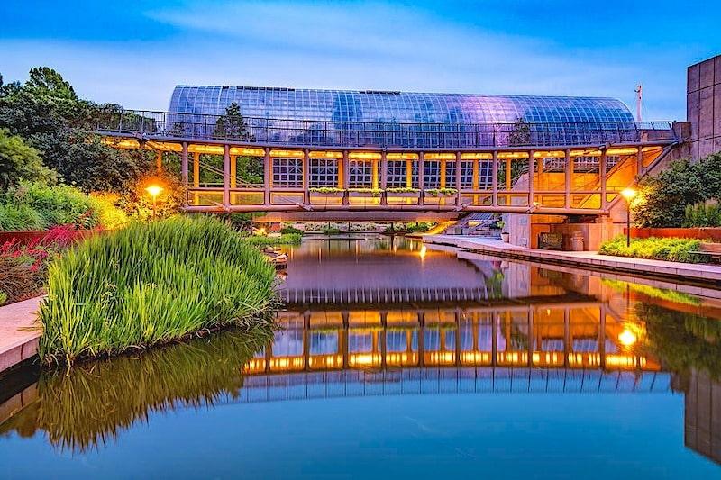oklahoma city crystal bridge and Myriad Botanical Gardens