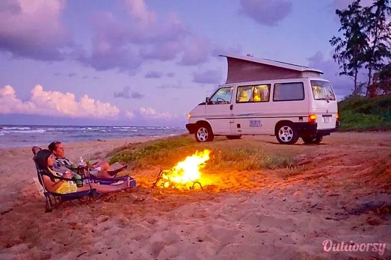 Kauai Camper Van on the beach