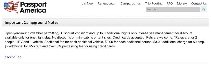 Passport America Campground Notes