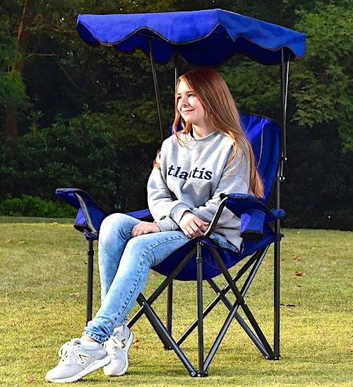 ALPHA CAMP Heavy Duty Canopy Lounge Chair with Sunshade