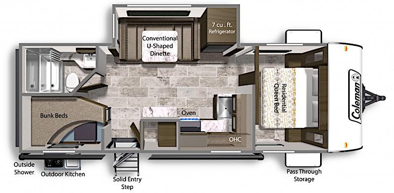 Coleman Light 2455BH floor plan travel trailer under 7000 lbs