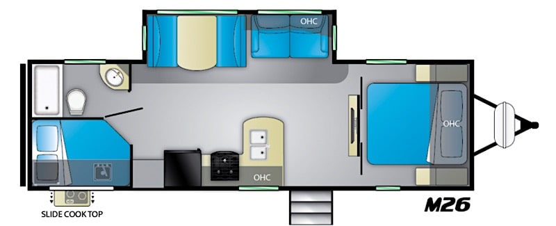 Heartland Mallard M26 camper under 7000 lbs floor plan