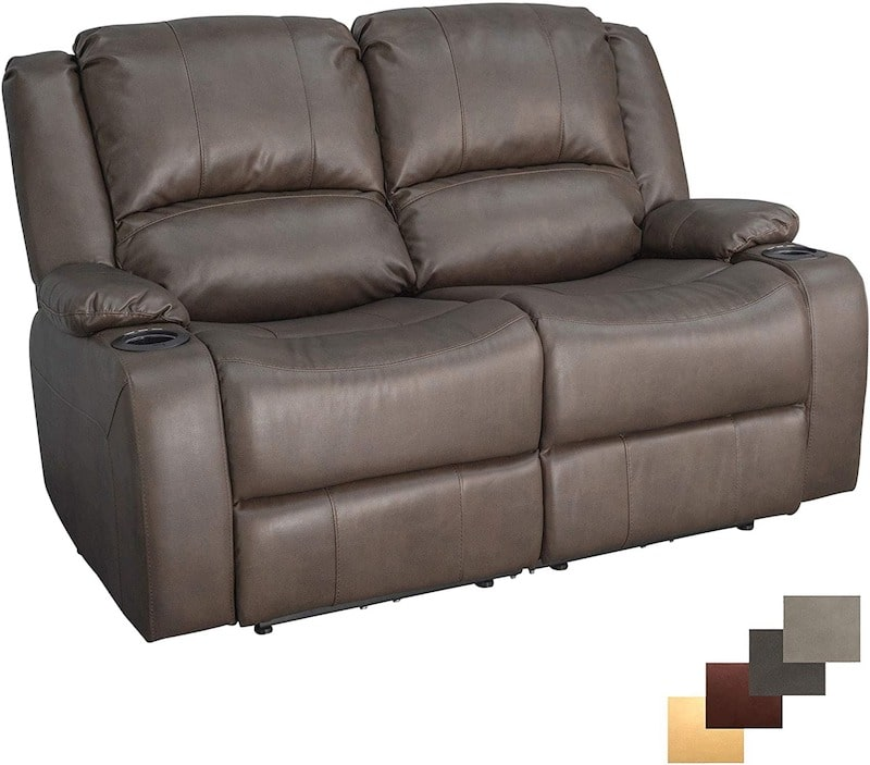 RecPro Charles 58 inch Powered Double RV Wall Hugger Recliner Sofa RV Loveseat
