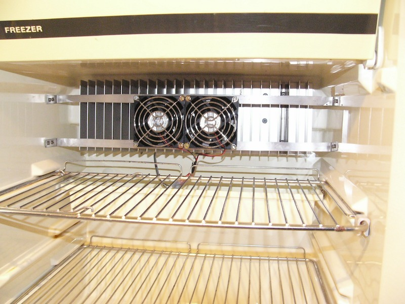 RV fridge fan inside an RV refigerator