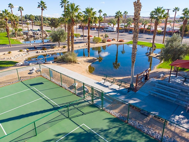 caliente pickleball courts with pond rv retirement community