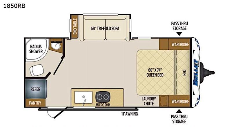 Keystone Bullet Crossfire 1850RB floor plan