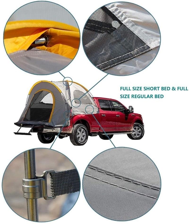 Truck Bed Tent Size shape materials windows