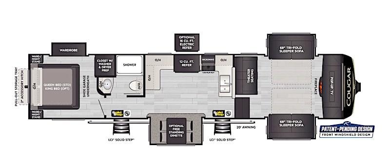 5th wheel front living room Keystone Cougar 354FLS floorplan
