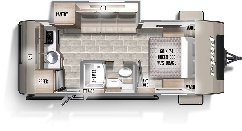 Forest River R Pod RP196 Travel Trailers Under 4000 Lbs Floor Plan