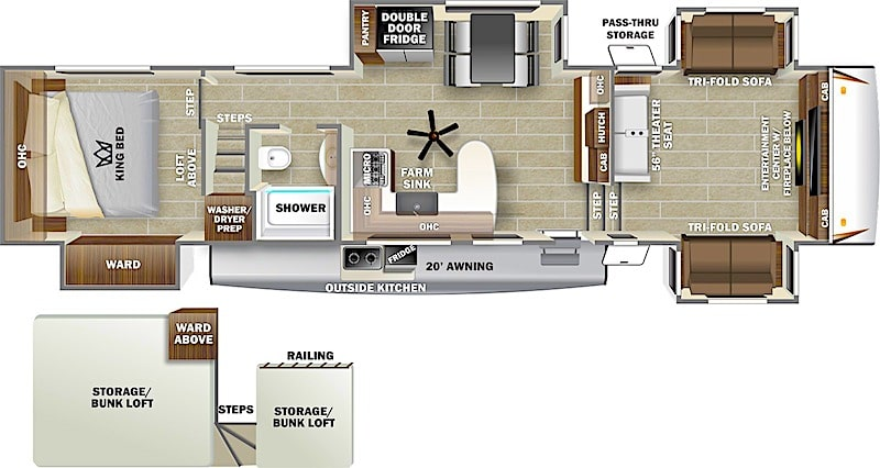 Forest River Sabre 37FLL fifth wheel front living room
