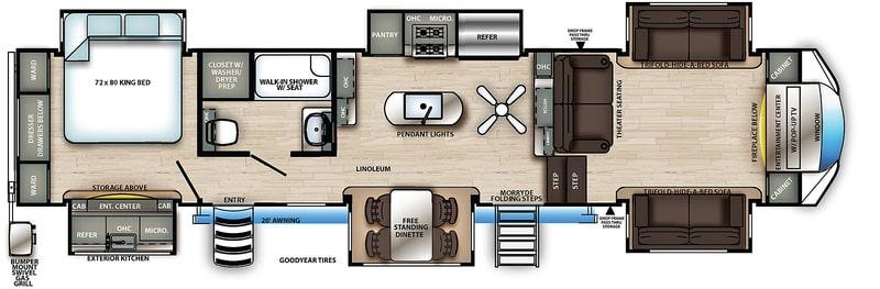 Forest River Sandpiper 379 FLOK Floor Plan