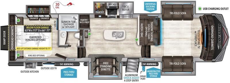 Grand Design Momentum 376TH 5th Wheels Front Living Room Floor Plan