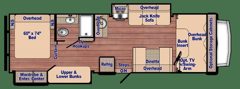 Best Class C RVs Bunk Beds Gulf Stream Conquest Floor Plan