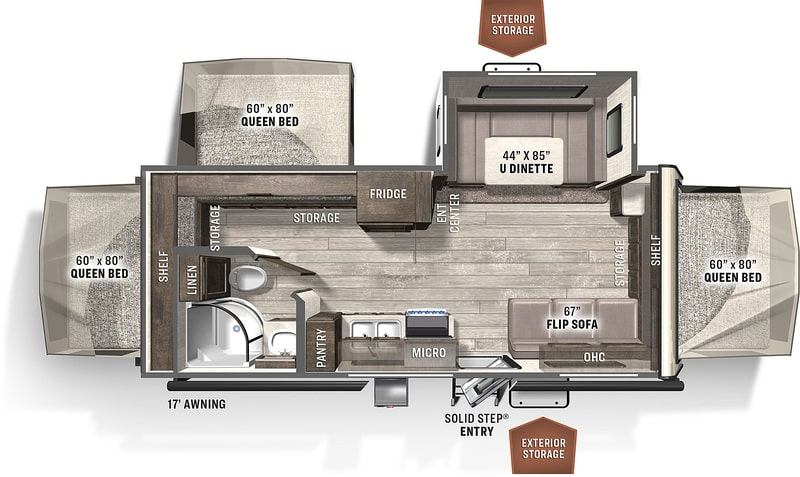 Best Expandable Hybrid Trailers Forest River Rockwood Roo Floor Plan
