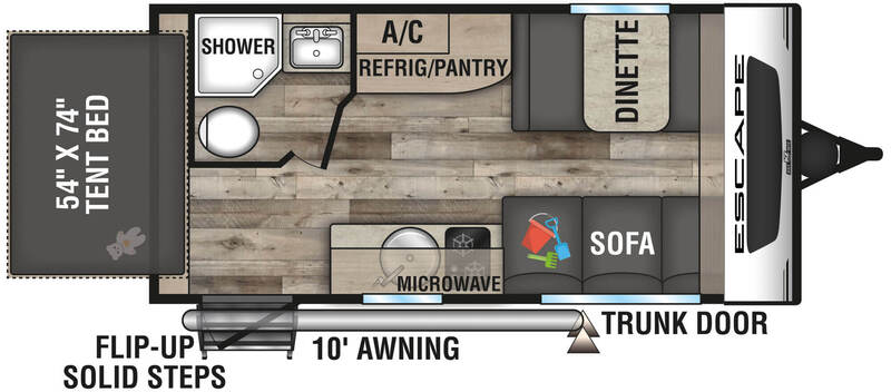 Best Expandable Hybrid Trailers KZ Escape E160RBT Floor Plan