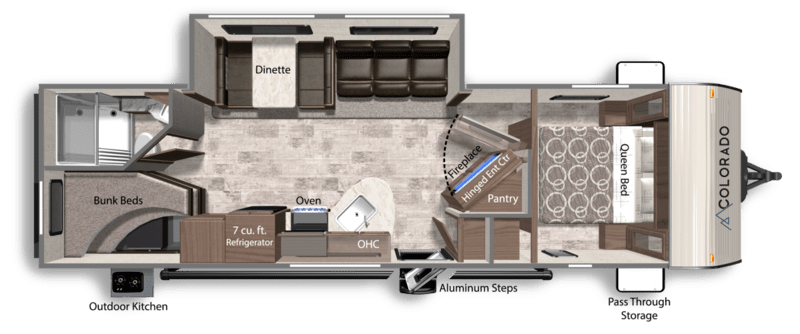Dutchmen RV Colorado Best Travel Trailers Outdoor Kitchen Floor Plan