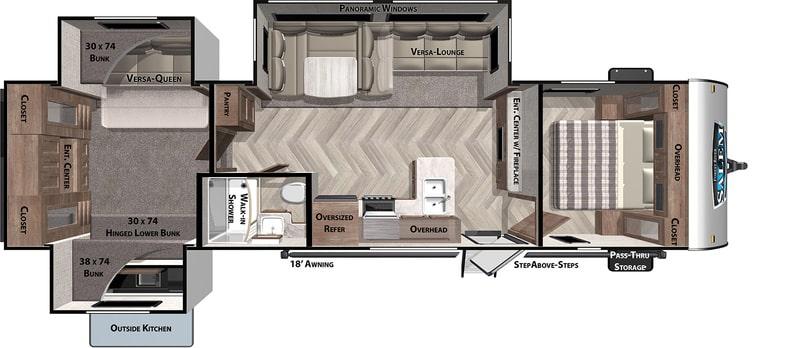Forest River RV Salem 31 Best Travel Trailers Outdoor Kitchen Floor Plan