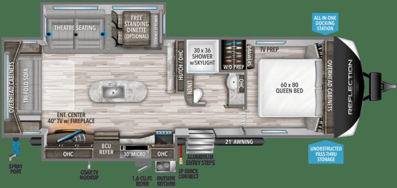 Grand Design Reflection Best Travel Trailers Outdoor Kitchen Floor Plan