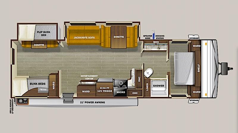 Starcraft Autumn Ridge Travel Trailer 32BHS floor plan with bunks