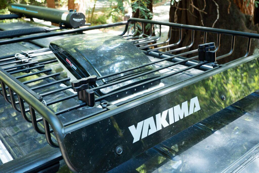 Black Yakima roof rack installed on a campervan