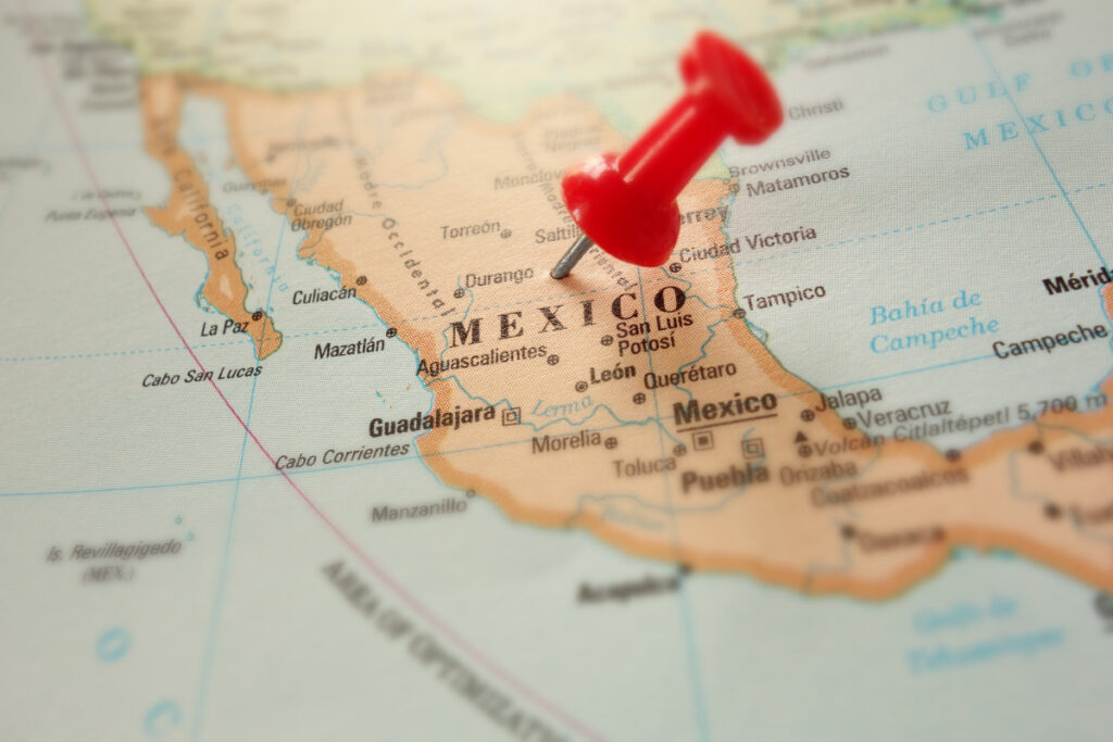 Map of Mexico with a red push pin
