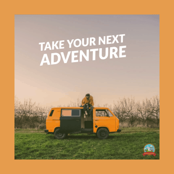 camper van pictured with text that says take your next adventure