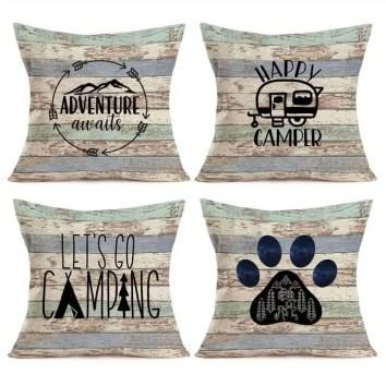 RV Travel Camper Design throw pillows a set of 4