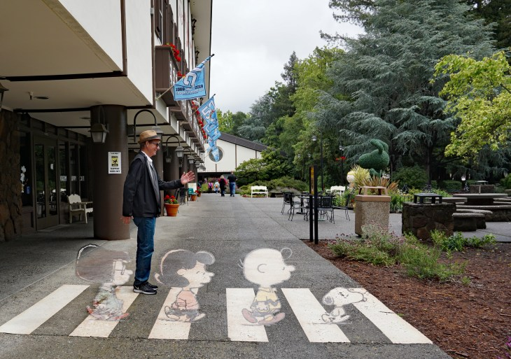 Very cool optical illusion for tourists at the Charles Schulz Museum in Santa Rosa, California.