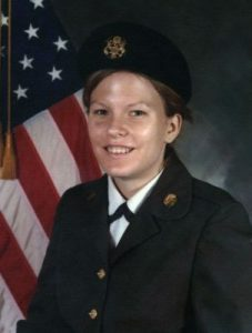 Gabrielle Pettingell as a young Army Reserve enlisted soldier before going on to college and commissioning as an officer