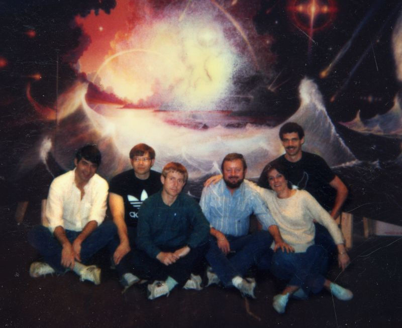 Remote viewing students with Ingo Swann in front of Millennium (left to right, Bill Ray, Paul H. Smith, Ed Dames, Ingo Swann, Charlene Shufelt, and Tom McNear). Photo courtesy Charlene Shufelt
