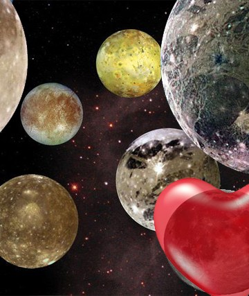 Seven moons composit photo from NASA images with Valentines Day heart