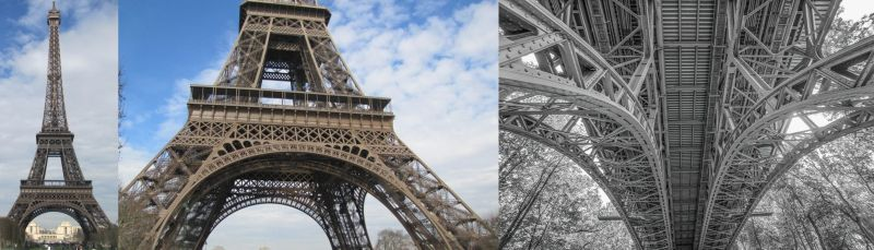 """A hypothetical example of analytical overlay (AOL) in remote viewing. Two views of the assigned target, the Eiffel Tower, compared to the AOL of """"steel bridge"""" that a viewer's left brain might imagine."""