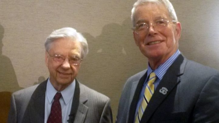 Bill Ray (R) with remote viewing program founder Dr. Hal Puthoff in 2015