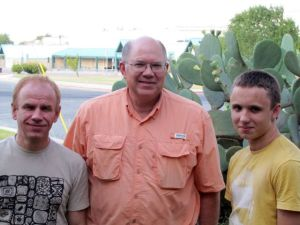 Yury and Nikita Pichugin visiting about remote viewing with Paul H. Smith in Austin, Texas in 2011