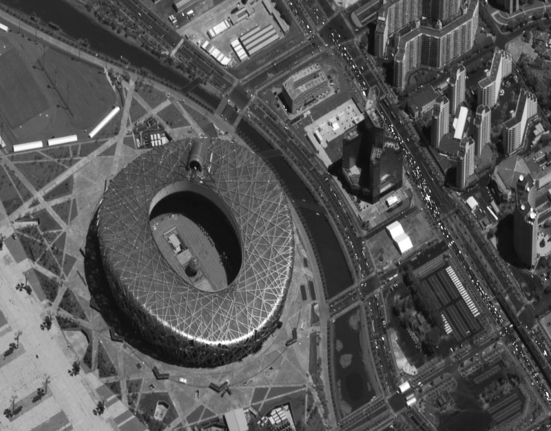 BEIJING, CHINA-JULY 12, 2008: This is a satellite image of the Olymic park in Beijing, China collected on July 12, 208. In just 2 minutes and 40 seconds, DigitalGlobe collected 24 high resolution images over the Olympic park.