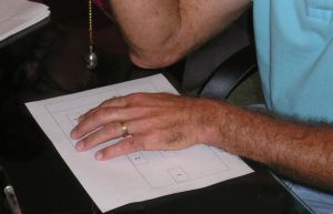 A remote viewer dowsing a diagram