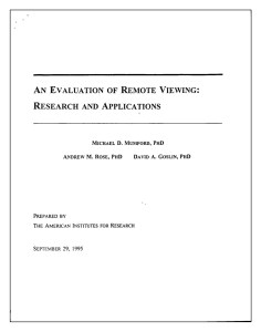Cover of the American Institutes of Ressearch report to the Central Intelligence Agency on the US Government's Star Gate remote viewing program
