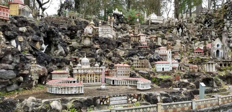 Brother Joseph replica miniature buildings at the Ave Maria Grotto.