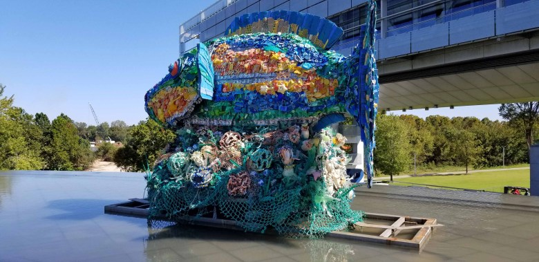 """""""Priscilla the Parrot Fish"""" made from debris collected along the Pacific Coast by volunteers by Angela Haseltine Pozzi and her Washed Ashore organization."""