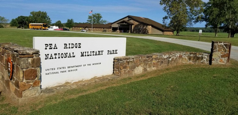 Entrance to Pea Ridge National Military Park in Arkansas.