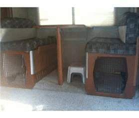 kennels under RV dining benches